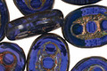 Czech Glass Denim Dreams Dotted Window Oval 18x13mm