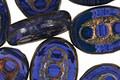 Czech Glass Denim Dreams Dotted Window Oval 18x13mm