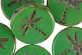 Czech Glass Opaque Grass Green Picasso Dragonfly Coin 17mm