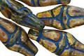 Czech Glass Light Amber Picasso w/Blue Goddess 25x10mm