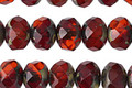 Czech Glass Pomegranate Picasso Fire Polished Rondelle 6x8mm