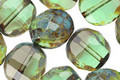 Czech Glass Transparent Olivine Picasso 2-Way Faceted Round 12mm