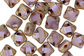 Czech Glass Lilac Picasso 4-hole Tile 6mm