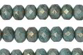 Czech Glass Lustered Bronze Turquoise Fire Polished Rondelle 5x7mm