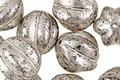 Czech Glass Antique Silver Melon Round 12mm
