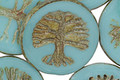 Czech Glass Sky Blue Tree of Life Coin 22mm