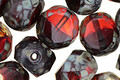 Czech Glass Garnet Picasso 2-Way Faceted Round Nugget 12mm