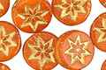 Czech Glass Burnt Orange w/ Bronzed Starflower Coin 12mm