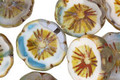 Czech Glass Capri/White Picasso Hibiscus Coin 15mm