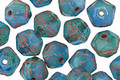 Czech Glass Blue Lilies English Cut Bead 6x8mm