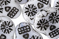 Czech Glass Opaque White w/ Black Wash Sugar Skull 20x17mm