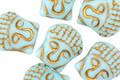 Czech Glass Matte Sky Blue w/ Gold Wash Buddha Head 16x14mm