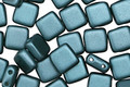 CzechMates Glass Pearl Coat Teal 2-Hole Tile 6mm