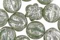 Czech Glass Opal Green w/ Mercury Finish Melon Round 10mm