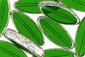 Czech Glass Emerald w/ Mercury Glass Finish Horse Eye 18x8mm