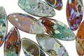 Czech Glass Rainforest Picasso Horse Eye 16x7mm