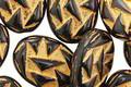 Czech Glass Jet & Gold Oval w/ Triangles 17x13mm