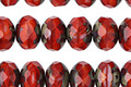 Czech Glass Lava Fire Polished Rondelle 6x8mm