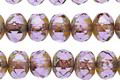 Czech Glass Lavender Picasso Fire Polished Rondelle 6x9mm