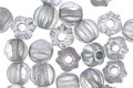 Czech Glass Crystal AB w/ Silver Wash Large Hole Melon Round 6mm