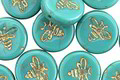 Czech Glass Opaque Green Turquoise w/ Gold Bee Coin 12mm