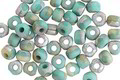 Czech Glass Matte Green Turquoise w/ Etched Silver Trica Beads 3x4mm