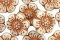 Czech Glass Vanilla w/ Copper Wild Rose Coin 13mm