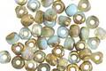 Czech Glass Sky Blue AB w/ Gold Trica Beads 3x4mm