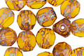 Czech Glass Amber Picasso Trica Beads 8x7mm