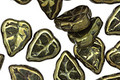 Czech Glass Metallic Green Leaves 11x9mm