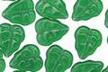 Czech Glass Milky Green Leaves 11x9mm