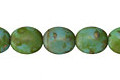 Czech Glass Matte Green Turquoise Picasso Puff Oval 11x9mm