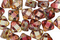 Czech Glass Cranberry Ice Diamond Tile 6mm