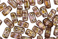 CzechMates Glass Lustered Rose Gold Topaz 2-Hole Brick 3x6mm