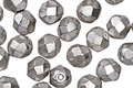 Czech Fire Polished Glass Antique Silver Round 6mm