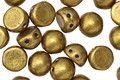 CzechMates Glass Saturated Metallic Spicy Mustard 2-Hole Cabochon 7mm