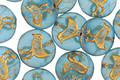Czech Glass Matte Beach Glass w/ Gold Coin Bird 11mm