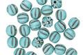 Czech Glass Matte Light Turquoise w/ Chocolate Melon Round 3mm