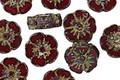Czech Glass Merlot Picasso Hibiscus Coin 9mm