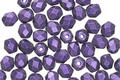 Czech Fire Polished Glass Purple Metallic Suede Round 4mm