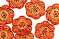 Czech Glass Tangerine w/ Gold Wild Rose Coin 13mm