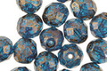 Czech Fire Polished Glass Capri Blue w/ Bronze Flecks Round 8mm