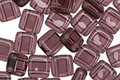 CzechMates Glass Medium Amethyst 2-Hole Tile 6mm