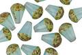 Czech Glass Beach Glass Drop w/ Picasso Bottom 8x6mm