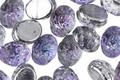 Czech Glass Tanzanite & 1/2 Silver Domed 2-Hole Oval 6.5x8mm
