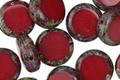Czech Glass Rustic Red Picasso Coin 10mm