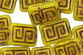 Czech Glass Bronzed Pineapple Tribal Rectangle 12x9mm