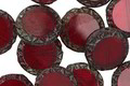Czech Glass Garnet Picasso Tribal Coin 12mm