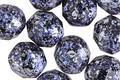 Czech Fire Polished Glass Jet w/ Metallic Blue & Silver Flecks Round 10mm