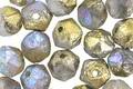 Czech Glass Matte Etched Smoke w/ Gold AB Finish English Cut Bead 7x8mm
